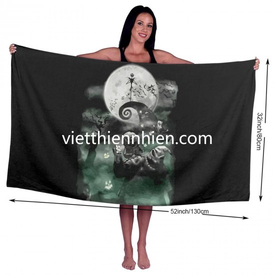Disney The Nightmare Before Christmas Haunted Scene big towels on sale Soft Highly Absorbent Quick Dry Beach for Bathroom Hotel Gym and Spa Washcloths White 52x32 Inch(pp20210327)